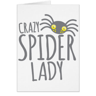 Crazy Spider Lady Greeting Card