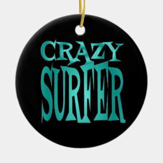 Crazy Surfer in Teal Christmas Ornament