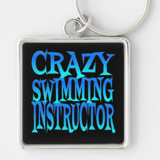 Crazy Swimming Instructor Silver-Colored Square Key Ring