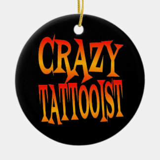 Crazy Tattooist in Bright Colors Christmas Ornament