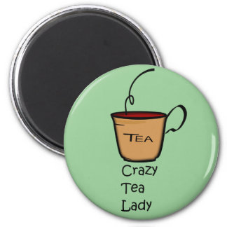 Crazy Tea Lady 6 Cm Round Magnet