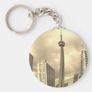 Crazy Toronto Skyline Basic Round Button Key Ring