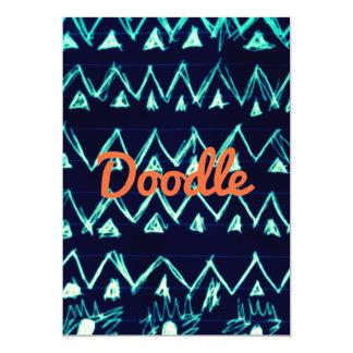 Crazy Tribal Doodle ZigZag Triangle Pattern 13 Cm X 18 Cm Invitation Card