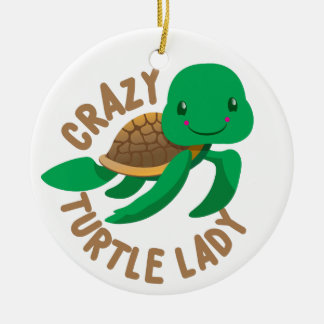 crazy turtle lady circle christmas ornament