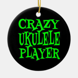 Crazy Ukulele Player in Green Christmas Ornament