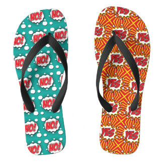 Crazy unique Yes and No design, different and fun Flip Flops