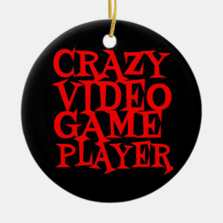 Crazy Video Game Player Round Ceramic Decoration