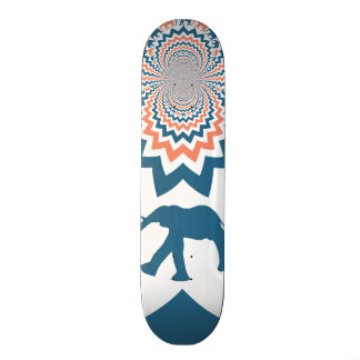 Crazy Walking Elephants Coral Blue Chevron Pattern Skateboard