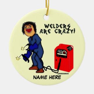 Crazy Welder Cartoon Christmas Ornament