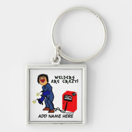 Crazy Welder Cartoon Silver-Colored Square Key Ring