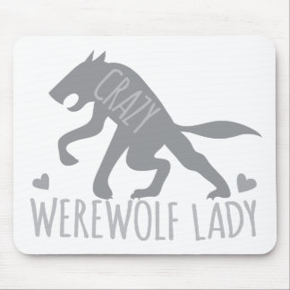 Crazy Werewolf Lady Mouse Pad
