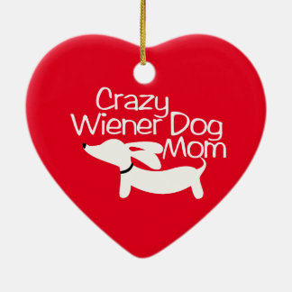 Crazy Wiener Dog Mom Christmas Tree Ornament Doxie