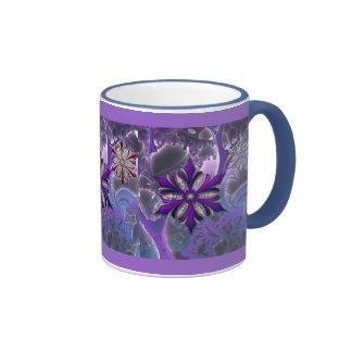 Crazy Wild Purple Fractal Christmas Ornament Mug