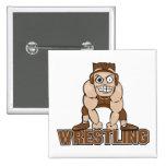 crazy wrestler wrestling design 15 cm square badge