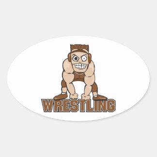 crazy wrestler wrestling design oval sticker