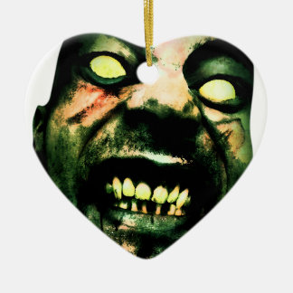 Crazy Zombie Man Face Christmas Ornament