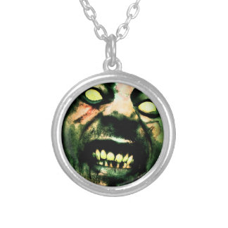 Crazy Zombie Man Face Silver Plated Necklace