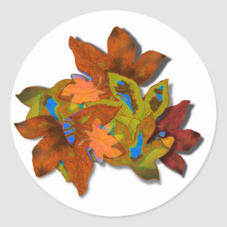 Cre8tive Fall Leaves Round Sticker