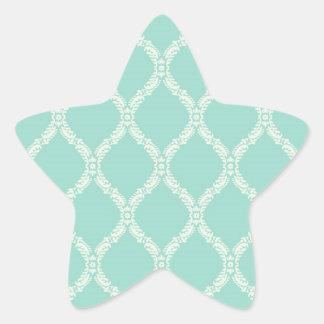 cream and aqua wavy damask star sticker