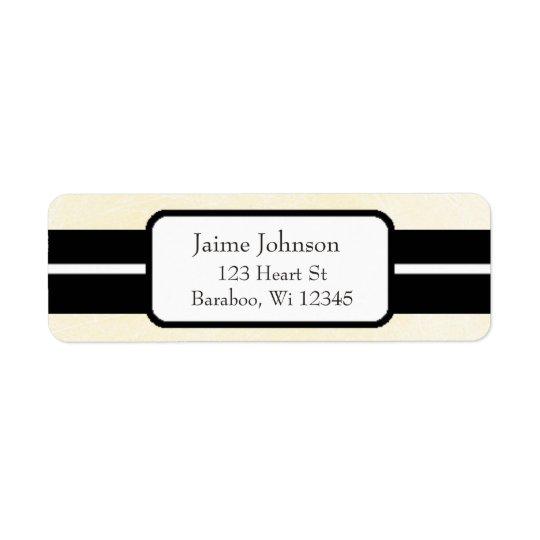 Cream and Black Classy  Return Address Sticker