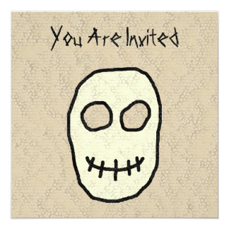 """Cream and Black Skull. Primitive. 5.25"""" Square Invitation Card"""
