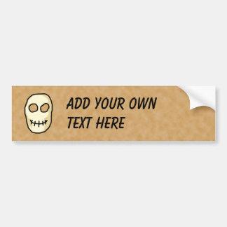 Cream and Black Skull. Primitive Style. Bumper Sticker