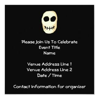 """Cream and Black Skull. Primitive Style. 5.25"""" Square Invitation Card"""