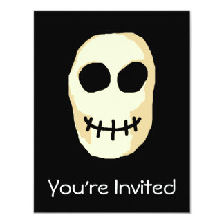 """Cream and Black Skull. Primitive Style. 4.25"""" X 5.5"""" Invitation Card"""