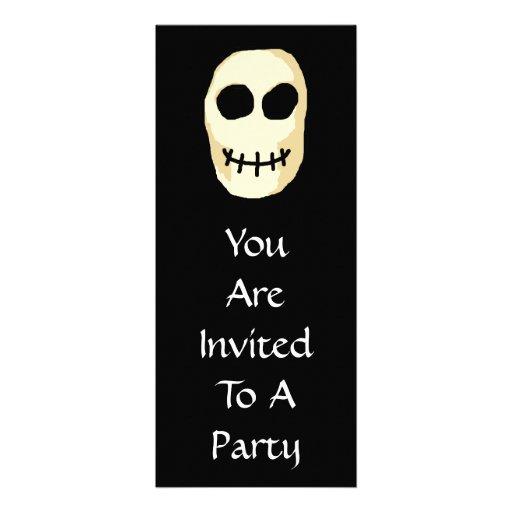 Cream and Black Skull. Primitive Style. Announcement