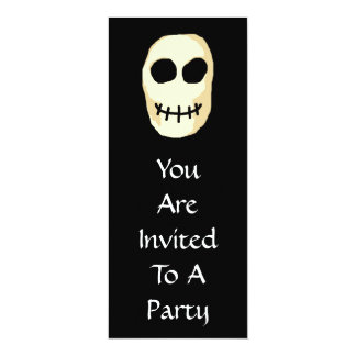 """Cream and Black Skull. Primitive Style. 4"""" X 9.25"""" Invitation Card"""