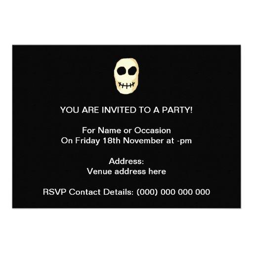 Cream and Black Skull. Primitive Style. Invitations