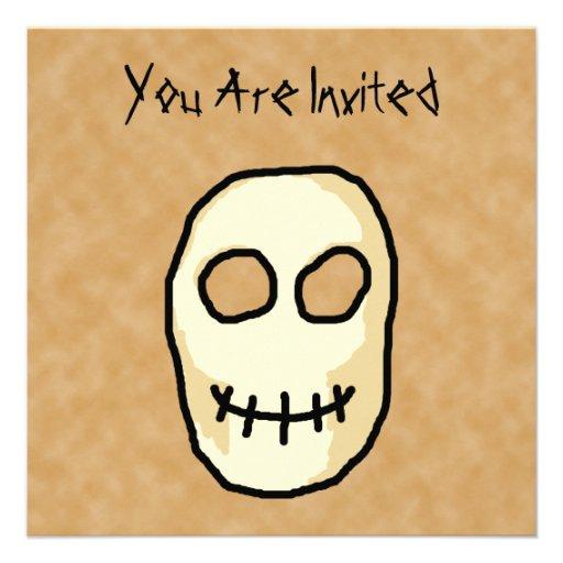 Cream and Black Skull. Primitive Style. Personalized Invite