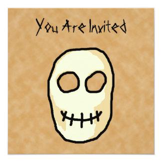 Cream and Black Skull. Primitive Style. 5.25x5.25 Square Paper Invitation Card
