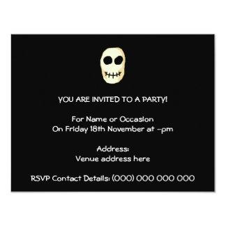 Cream and Black Skull. Primitive Style. 4.25x5.5 Paper Invitation Card