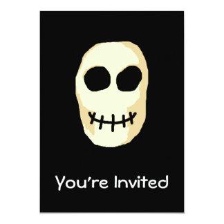 """Cream and Black Skull. Primitive Style. 5"""" X 7"""" Invitation Card"""