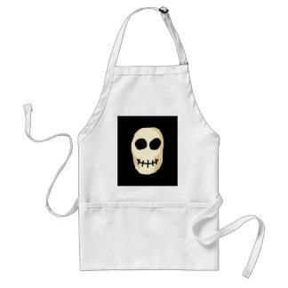 Cream and Black Skull. Primitive Style. Standard Apron
