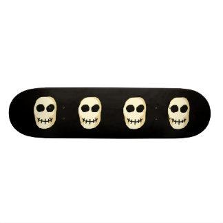 Cream and Black Skull. Skateboard Deck