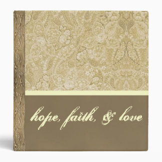Cream and Bronze Paisley Wedding Album Vinyl Binder