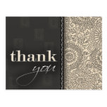 Cream and charcoal grey thank you post card