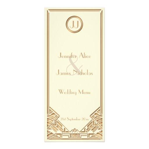Cream and Gold Art Deco Gatsby Style Wedding Menu Rack Card Design