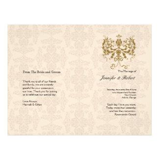 Cream and Gold Damask Wedding Program Full Color Flyer