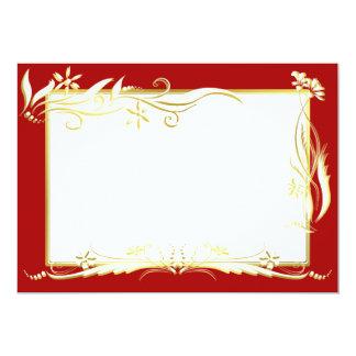 Cream and gold floral ornament 13 cm x 18 cm invitation card