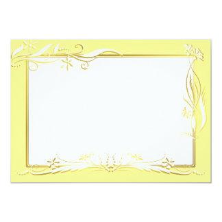 Cream and gold floral ornament 5x7 paper invitation card