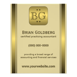 "Cream and Gold Plate 4.5"" x 5.6"" Accountant Flyers"