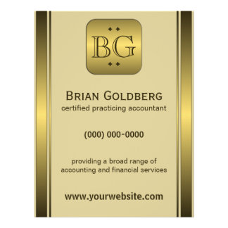 "Cream and Gold Plate 8.5"" x 11"" Accountant Flyers"