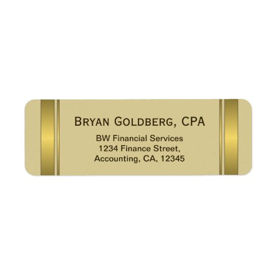 Cream and Gold Plate CPA Accountant Address Labels