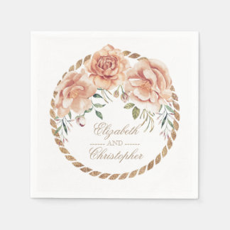 Cream and Gold Watercolor Flowers Wedding Paper Serviettes