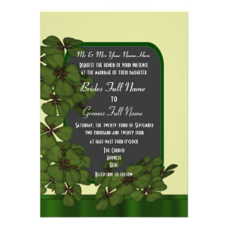 Cream and green Irish shamrock clover wedding 13 Cm X 18 Cm Invitation Card