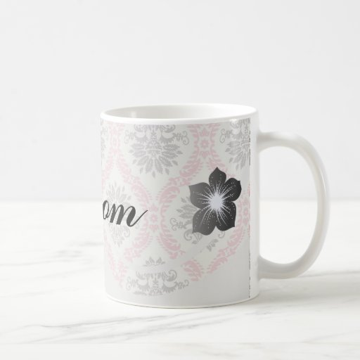 cream and grey tan damask bliss basic white mug