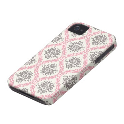 cream and grey tan damask bliss Case-Mate iPhone 4 case